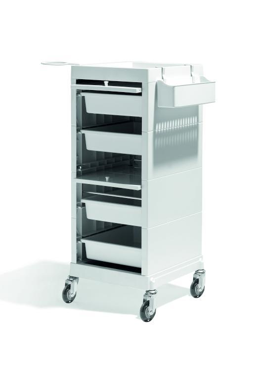 Kadeřnický vozík s dvířky Sibel Discrete - krémový (000736101) + DÁREK ZDARMA