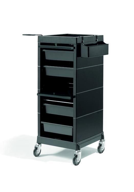 Kadeřnický vozík s dvířky Sibel Discrete - černý (000736102) + DÁREK ZDARMA
