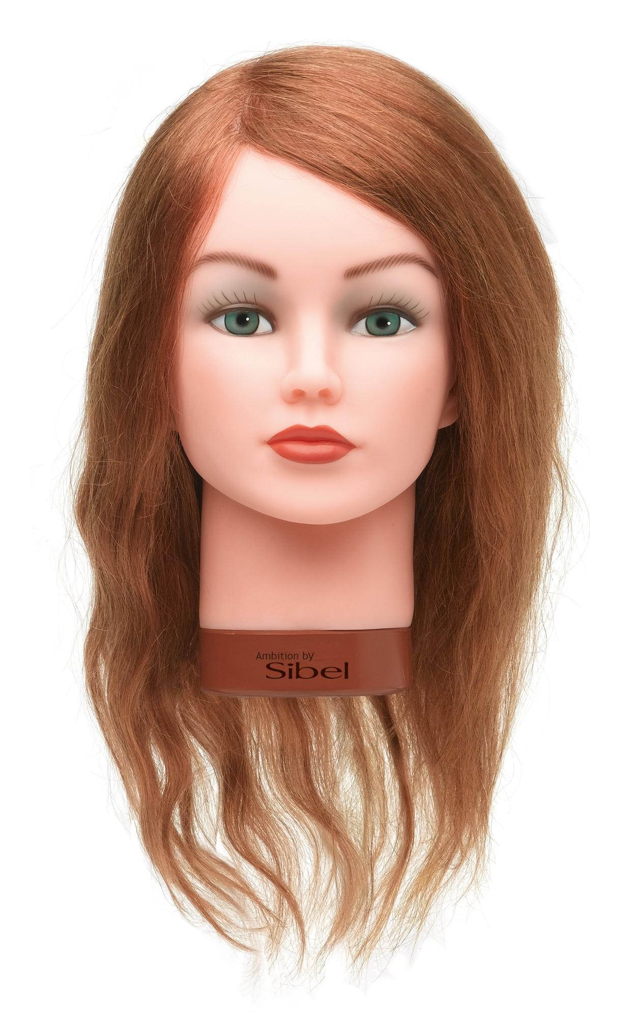 Cvičná hlava dámská s přírodními vlasy Sibel ELEONOR - blond 30-45 cm (0030641) + DÁREK ZDARMA