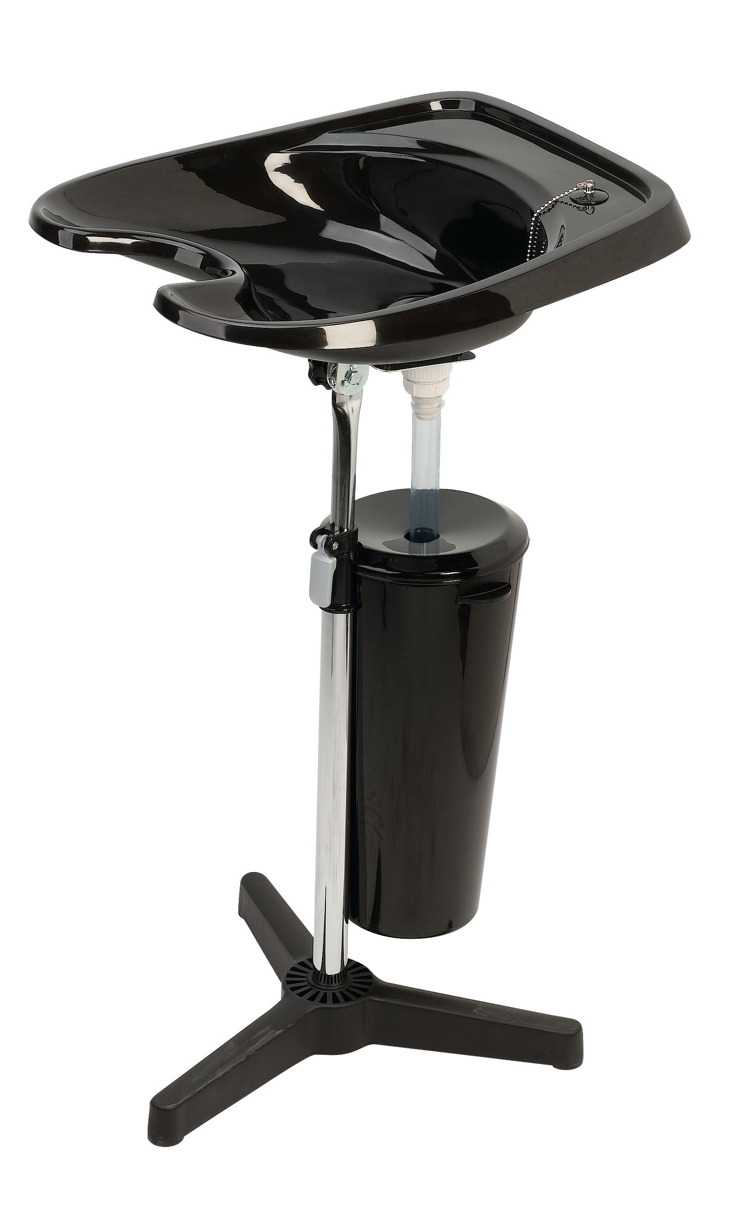 Kadeřnická mycí mísa Sibel Luxe - přenosná, černá - s odpadní nádobou (007933102) + DÁREK ZDARMA
