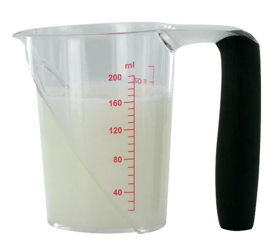 Kadeřnická odměrka s ryskami a gumovou ručkou Sibel - 200 ml (0090081)
