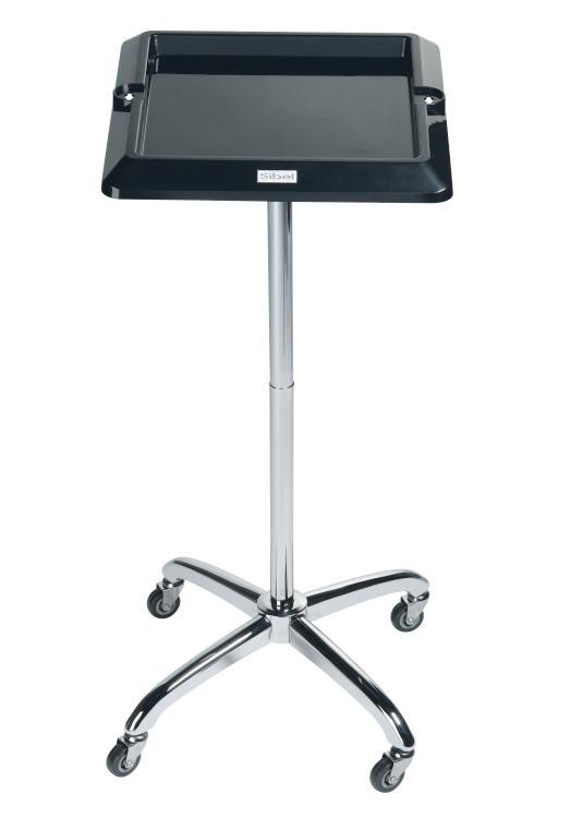 Kadeřnický odkládací stolek Sibel Escort - černý, čtvercový (017081002) + DÁREK ZDARMA