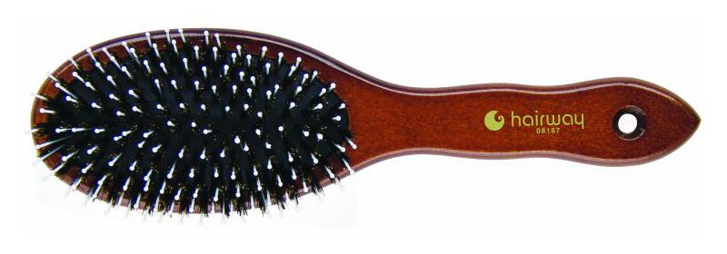 Kartáč z mas. dřeva s přírod. a polyamid. štětinami Hairway 65 mm x 230 mm (08187)
