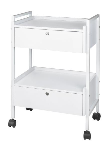 Kosmetický stolek na kolečkách se 2 zásuvkami Weelko Easy+, bílý (1019) + DÁREK ZDARMA