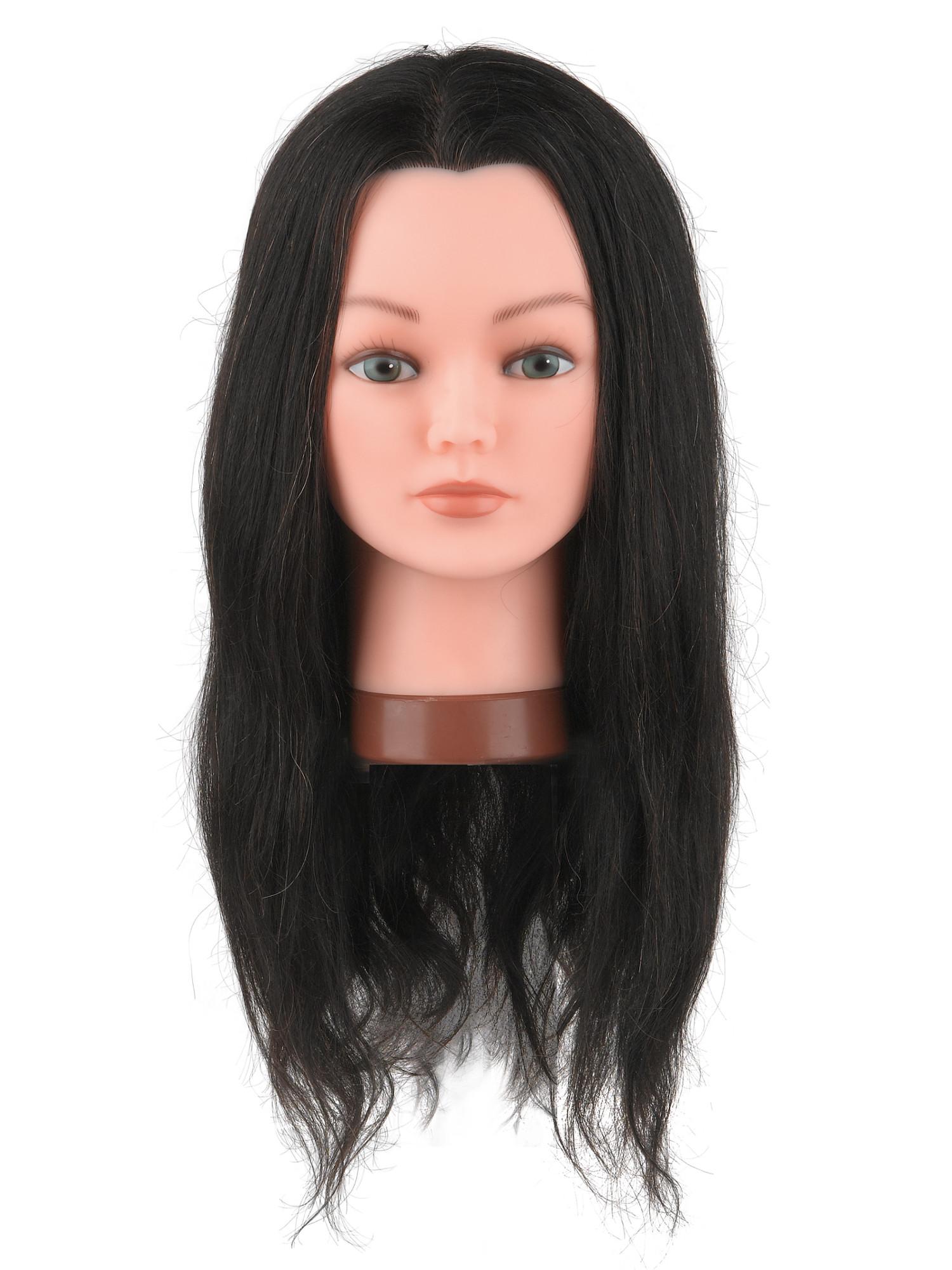 Cvičná hlava Sibel Fanny s přírodními vlasy - kaštanová 50 cm (0030651) + DÁREK ZDARMA