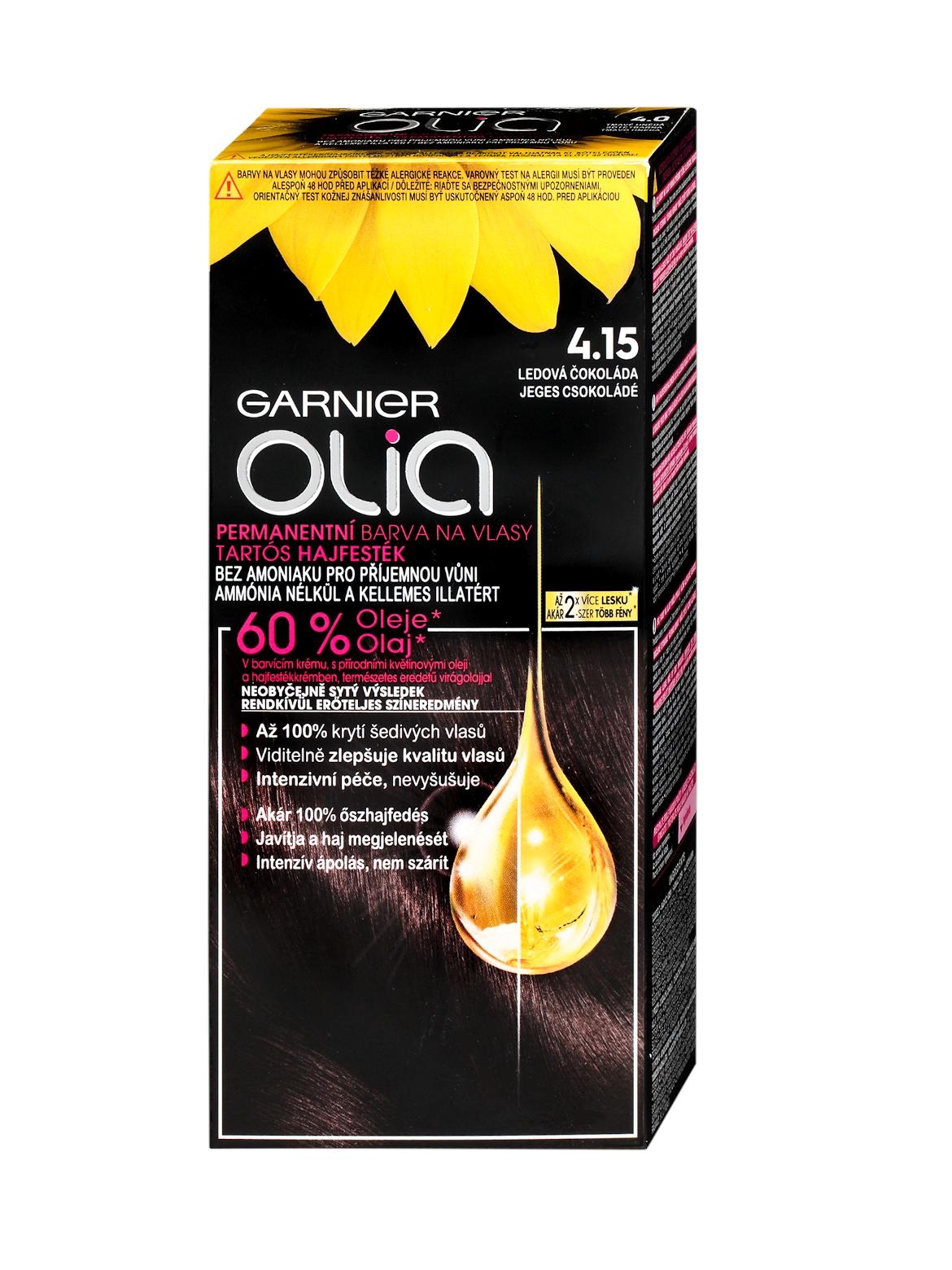 Permanentní olejová barva Garnier Olia 4.15 ledová čokoláda + DÁREK ZDARMA