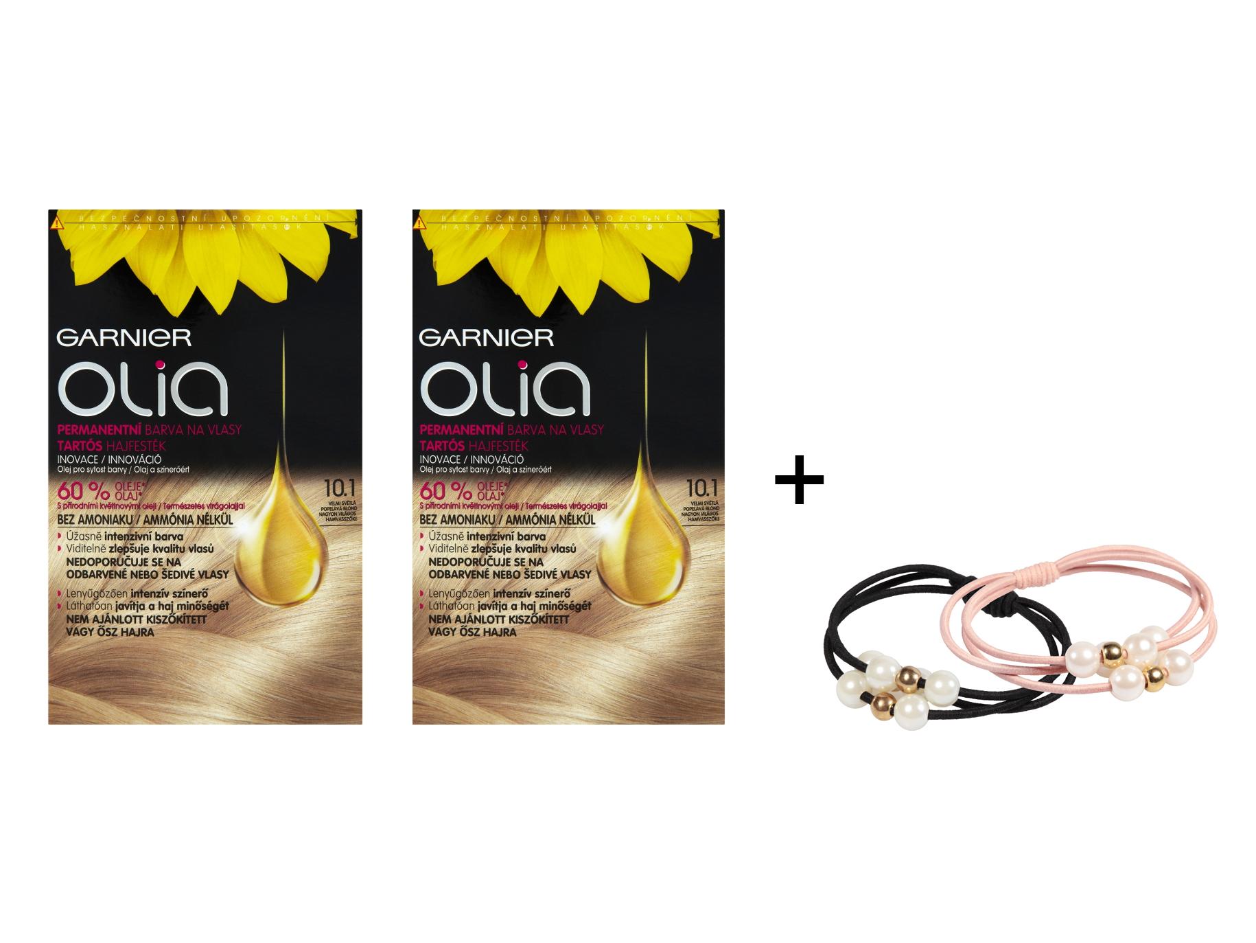 Sada 2 kusů permanentní olejové barvy Garnier Olia 10.1 velmi světlá blond + gumičky L'oréal Paris + DÁREK ZDARMA