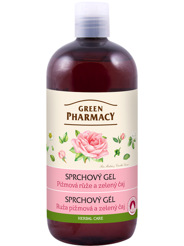Sprchový gel Green Pharmacy - pižmová růže a zelený čaj - 500 ml