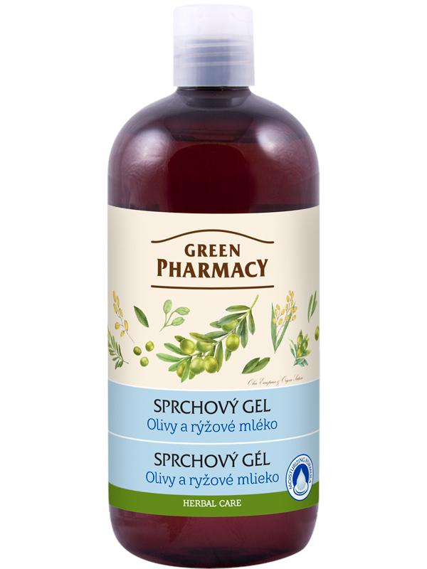 Sprchový gel Green Pharmacy - olivy a rýžové mléko - 500 ml