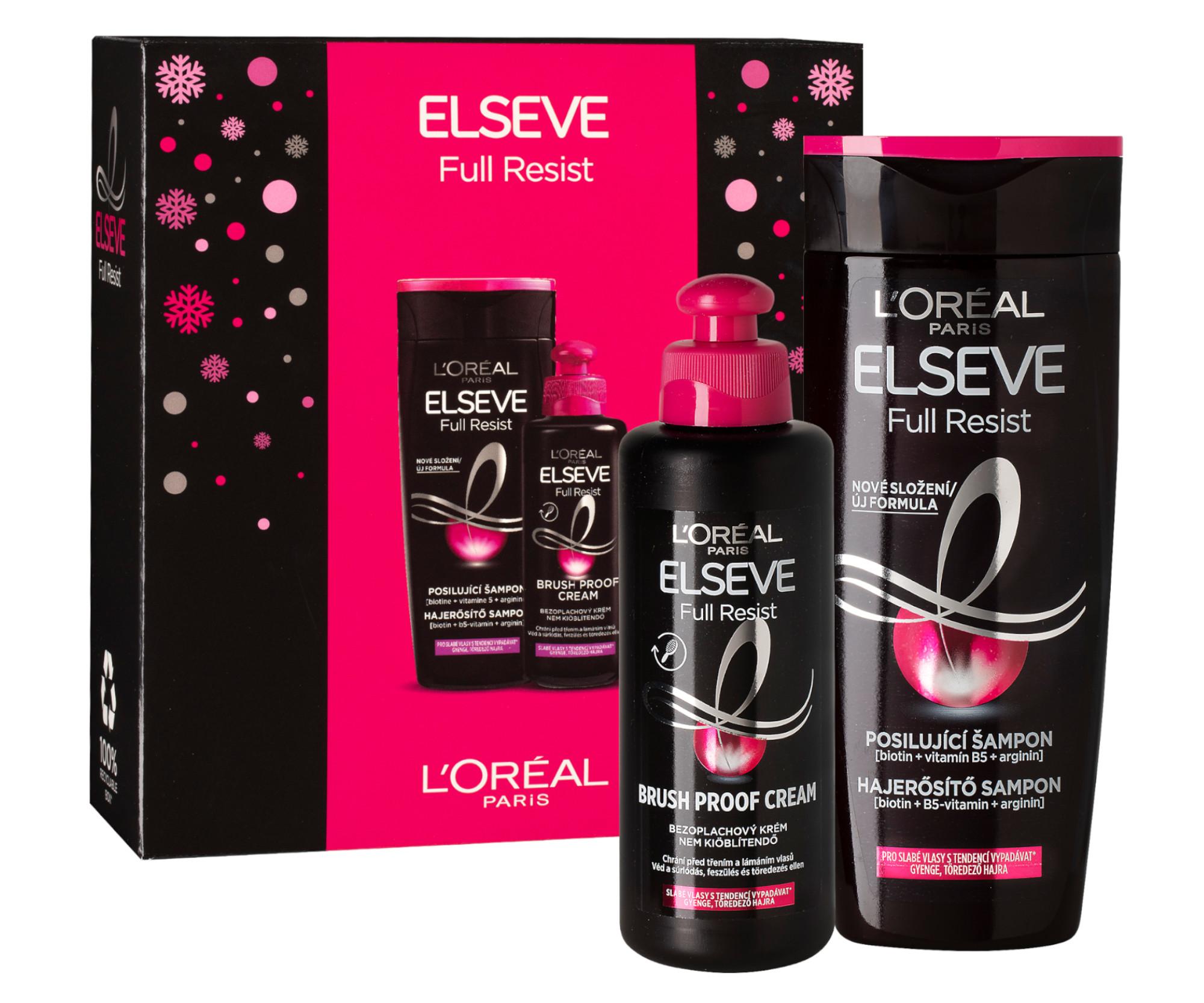 Sada pro slabé vlasy Loréal Paris Elseve Full Resist - šampon 250 ml + bezoplachový krém 200 ml + DÁ