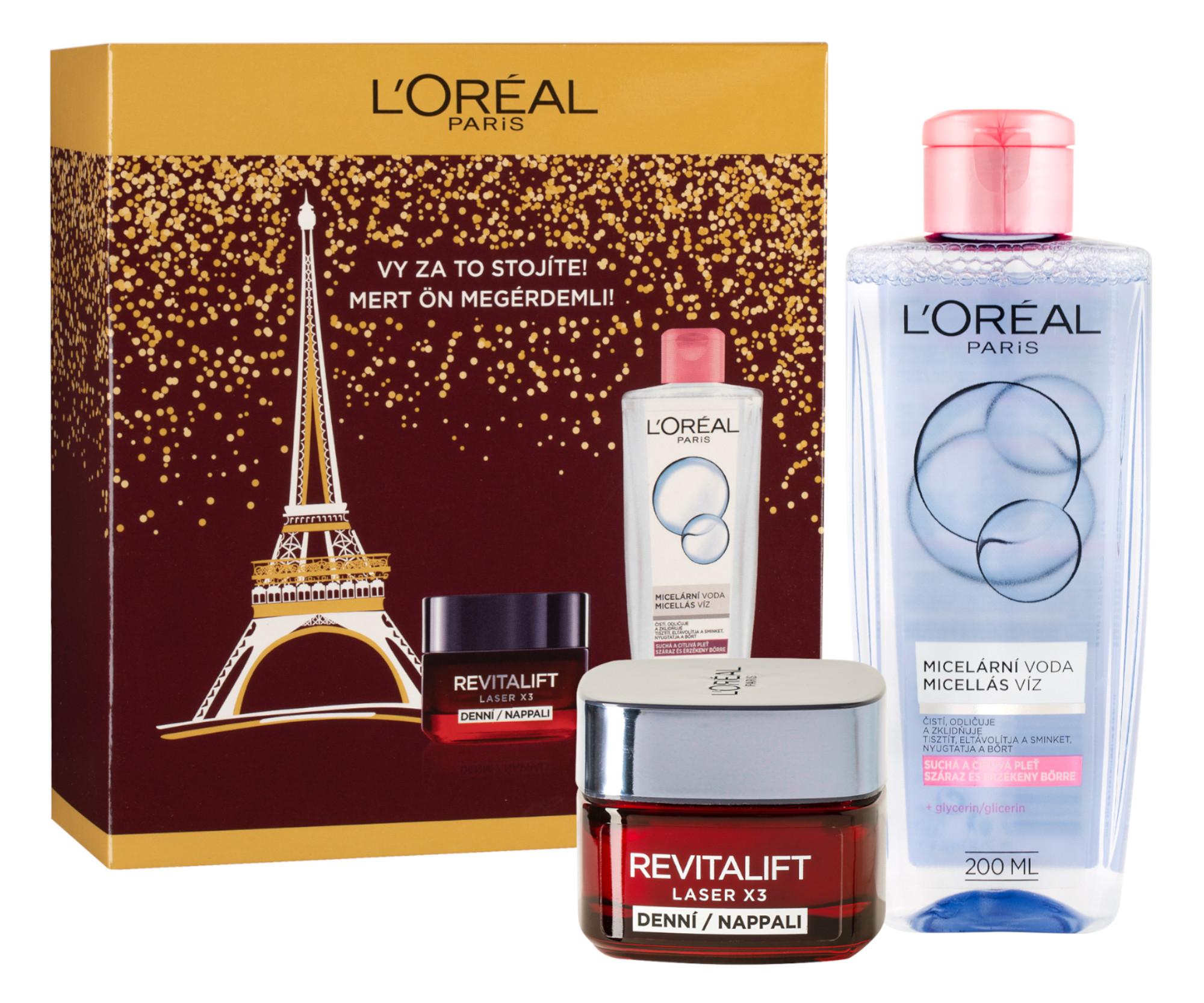 Dárková sada Loréal Paris Revitalift Laser X3 - denní krém 50 ml + micelární voda 200 ml - L'Oréal Paris + DÁREK ZDARMA