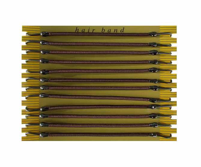 Gumička do vlasů s háčkem Duko 8013 - hnědá, 12 ks (8013-brown) + DÁREK ZDARMA