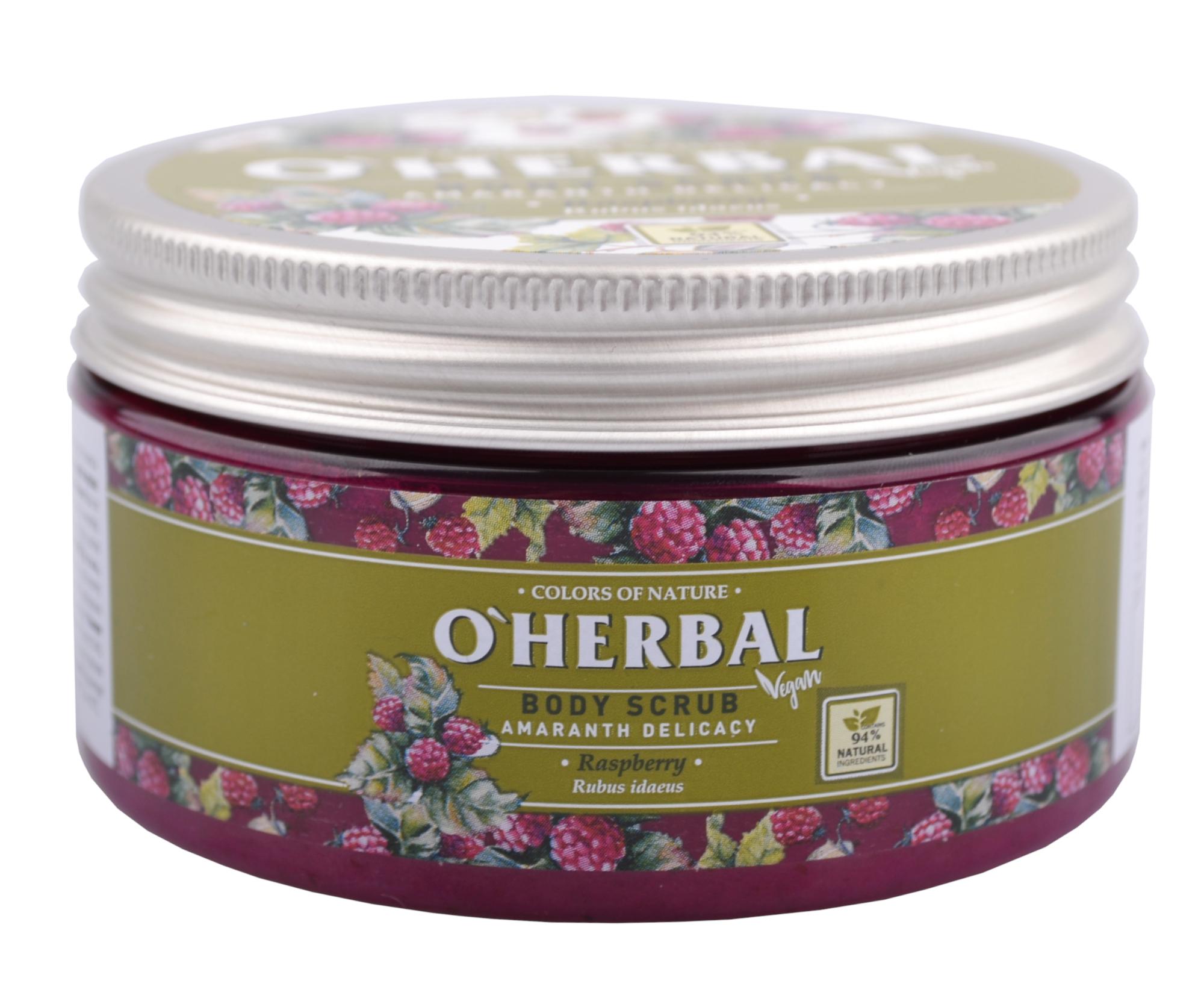 Tělový peeling O'Herbal Amaranth Delicacy - Malina 200 ml - O`Herbal + DÁREK ZDARMA