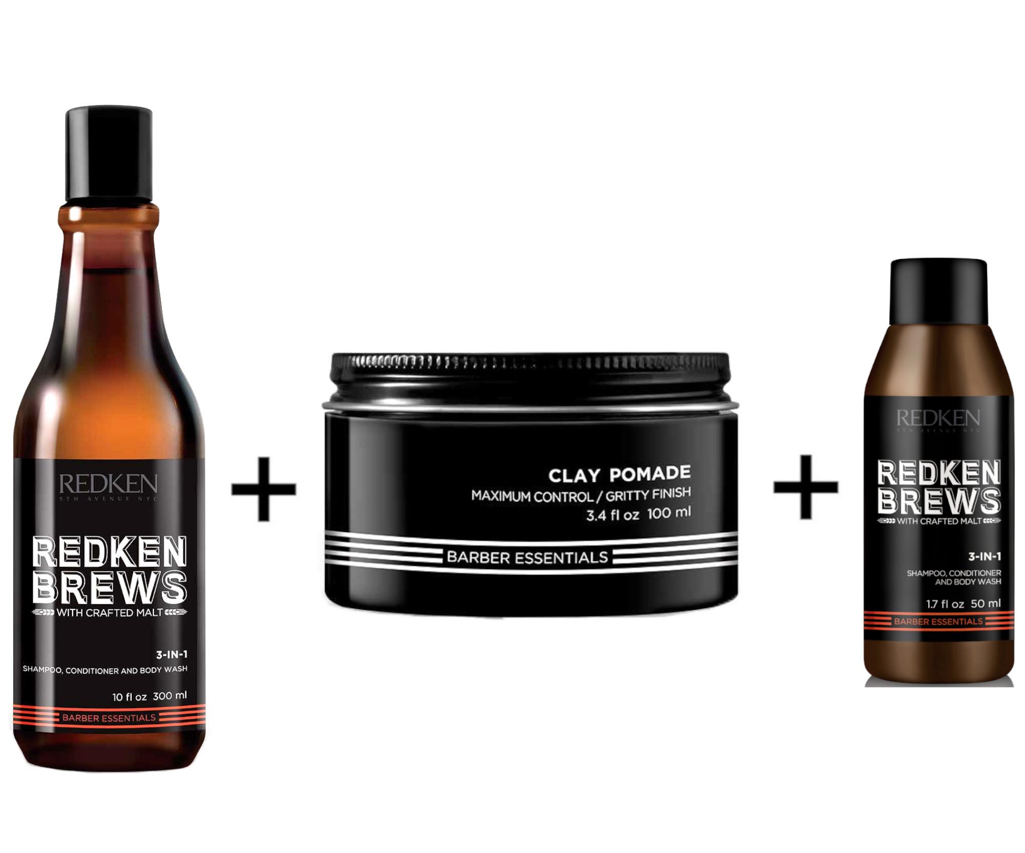 Pánská sada Redken Brews - čistící šampon 3v1 + matující hlína + čistící šampon 3v1 ZDARMA + DÁREK ZDARMA