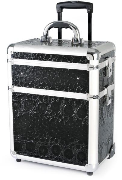 Kadeřnický kufr na kolečkách Hairway - 3-dílný, černý (vzor 2) (28587) + DÁREK ZDARMA