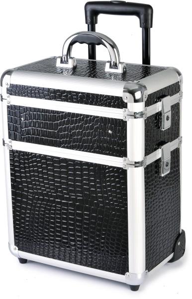 Kadeřnický kufr na kolečkách Hairway - 3-dílný, černý (vzor 1) (28588) + DÁREK ZDARMA