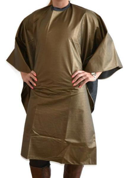 Kadeřnická pláštěnka na barvení Sibel - zlatá (5140332-33) + DÁREK ZDARMA
