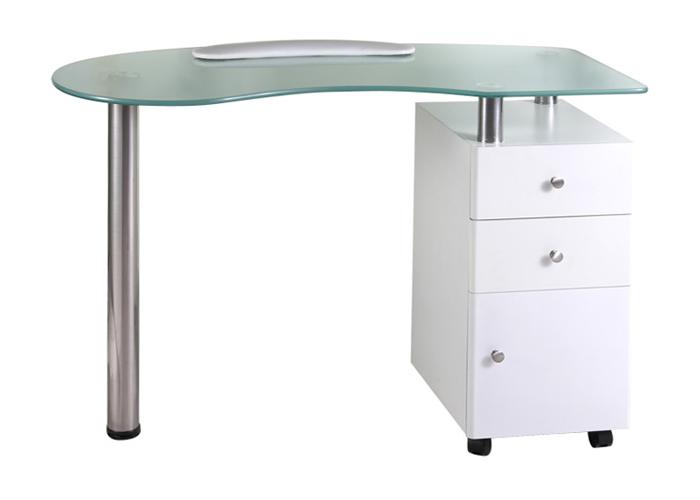 Manikúrní stolek Hairway se skleněnou deskou - bílý (53406) + DÁREK ZDARMA