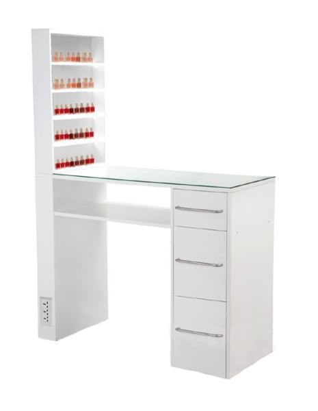 Manikúrní stolek Hairway s prostorným bočním boxem - bílý (53413) + DÁREK ZDARMA