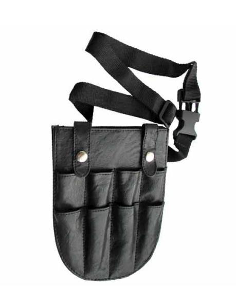 Kadeřnická kapsa na nůžky Duko - kůže, černá (9B602) + DÁREK ZDARMA