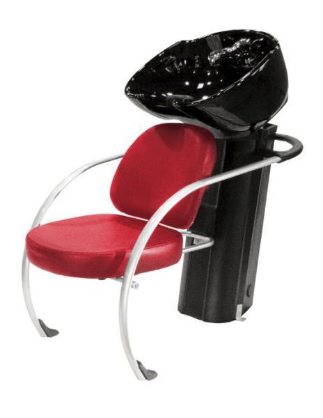 Kadeřnický mycí box Hairway New York II, červený/černá mísa (57001-YD27) + DÁREK ZDARMA