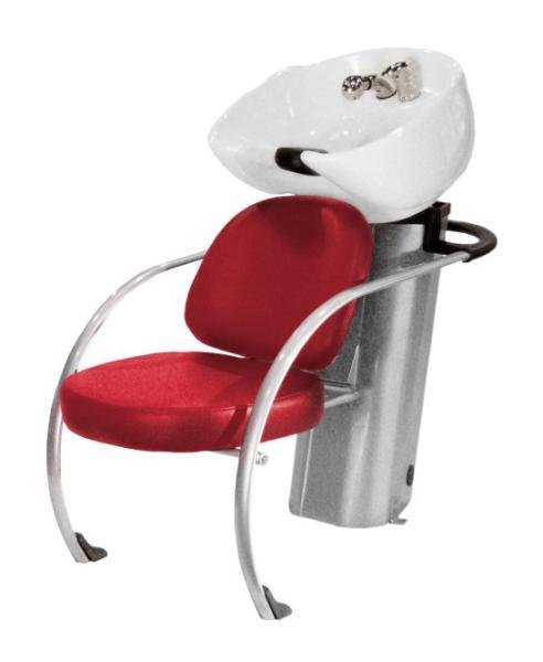 Kadeřnický mycí box Hairway New York II, červený/bílá mísa (57002-YD27) + DÁREK ZDARMA