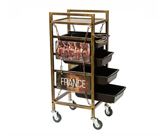 Kadeřnický pracovní vozík Hairway France - patina (60011) + DÁREK ZDARMA