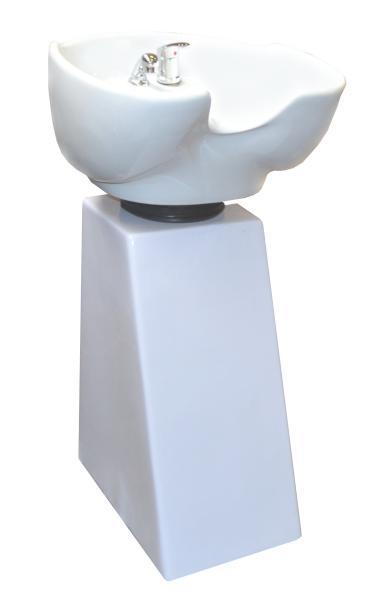 Kadeřnický sloupový mycí box Detail bílá noha - bílá mísa (DHS6660white) + DÁREK ZDARMA