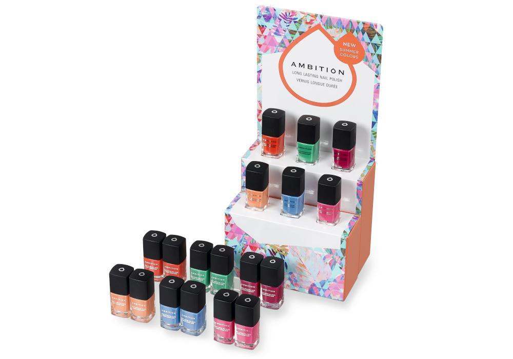 Sada 18 ks laků na nehty Ambition Summer Colors + prodejní stojánek ZDARMA (6600555) + DÁREK ZDARMA