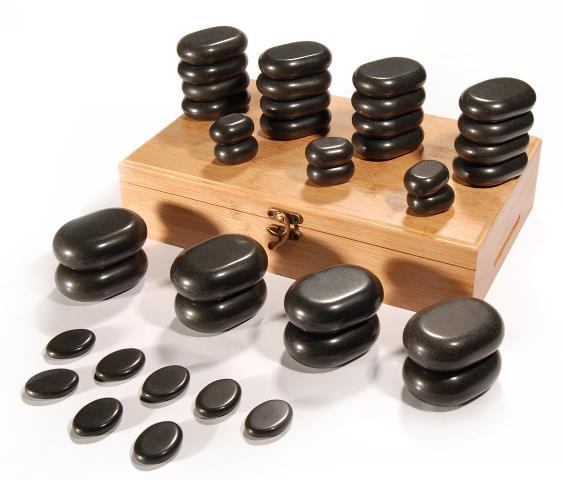 Sada masážních lávových kamenů Sibel - 36 kusů (7520010) + DÁREK ZDARMA