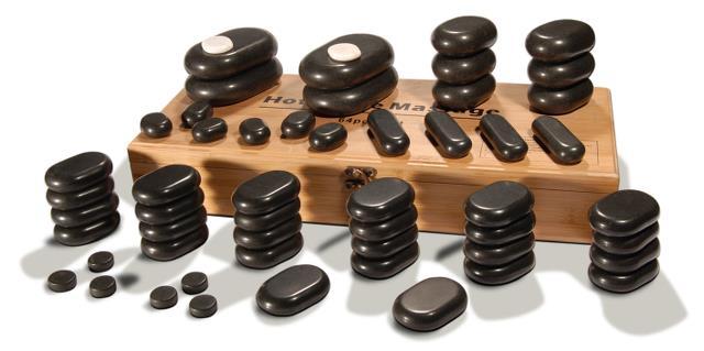Sada masážních lávových kamenů Sibel - 54 kusů (7520011) + DÁREK ZDARMA