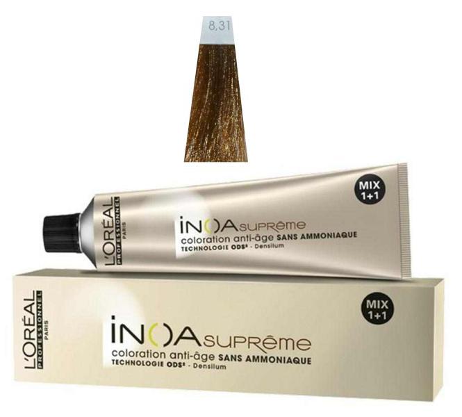 Loréal Inoa Supréme barva na vlasy 60g - odstín 8.31 zlatá + DÁREK ZDARMA
