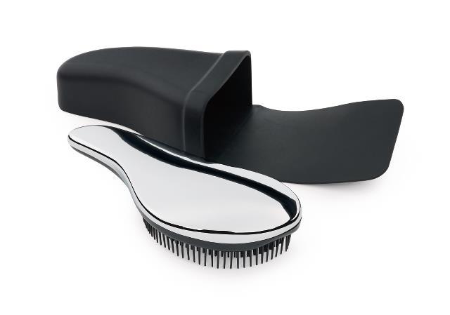 Kartáč na vlasy se silikonovým pouzdrem Sibel, stříbrný (8491150) + DÁREK ZDARMA