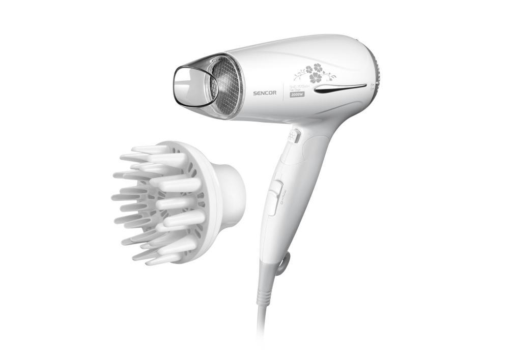 Cestovní fén na vlasy Sencor SHD 7170WH - bílý, 2000 W + DÁREK ZDARMA