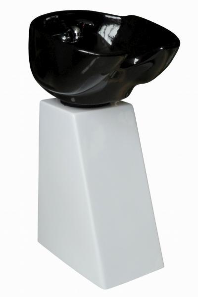Kadeřnický sloupový mycí box Detail bílá noha - černá mísa (DHS6660) + DÁREK ZDARMA