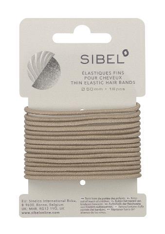 Tenké gumičky do vlasů Sibel - 50 mm, 16 ks, blond (4441216)
