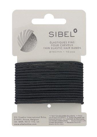Tenké gumičky do vlasů Sibel - 50 mm, 16 ks, černé (4441416)