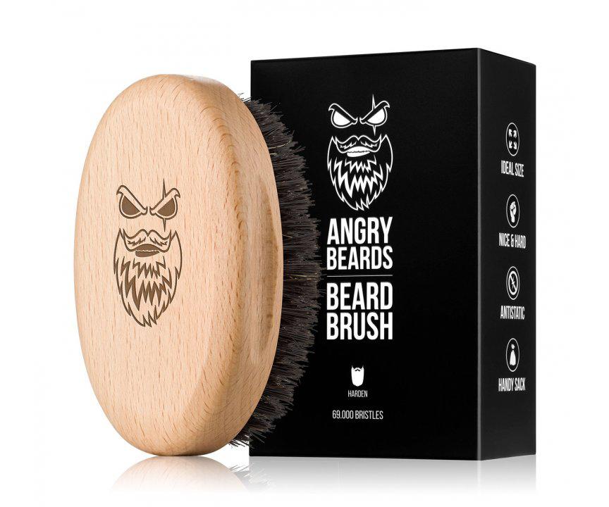 Dřevěný kartáč na vousy Angry Beards Harden - 103 x 63 mm + DÁREK ZDARMA