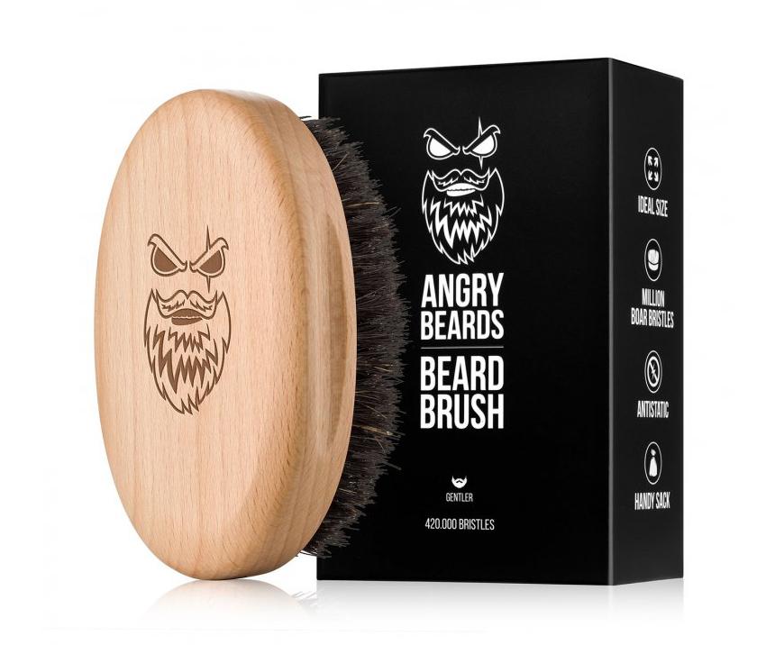 Dřevěný kartáč na vousy Angry Beards Gentler - 103 x 63 mm + DÁREK ZDARMA