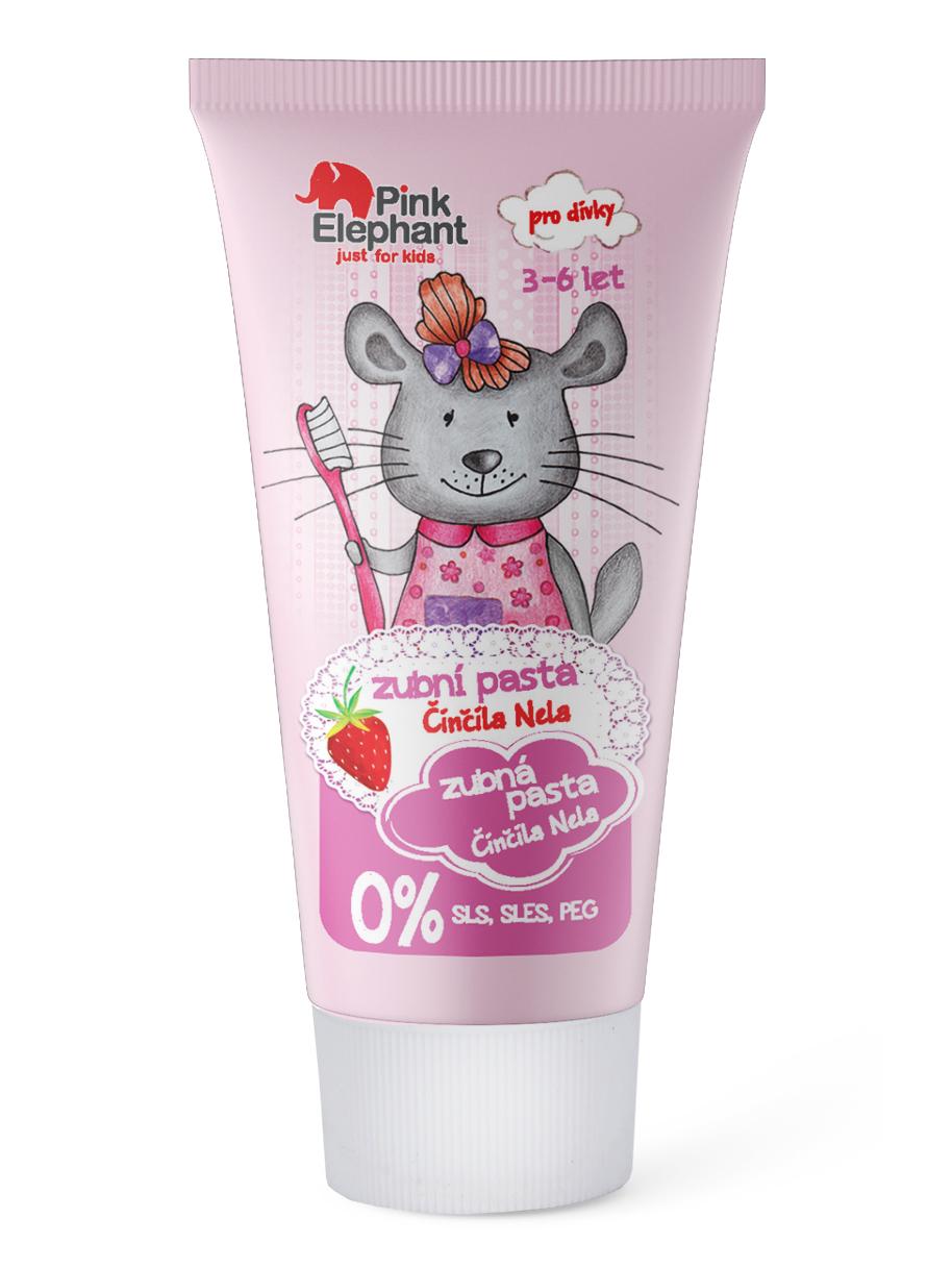 Dětská zubní pasta s příchutí jahod Pink Elephant Činčila Nela - 50 ml
