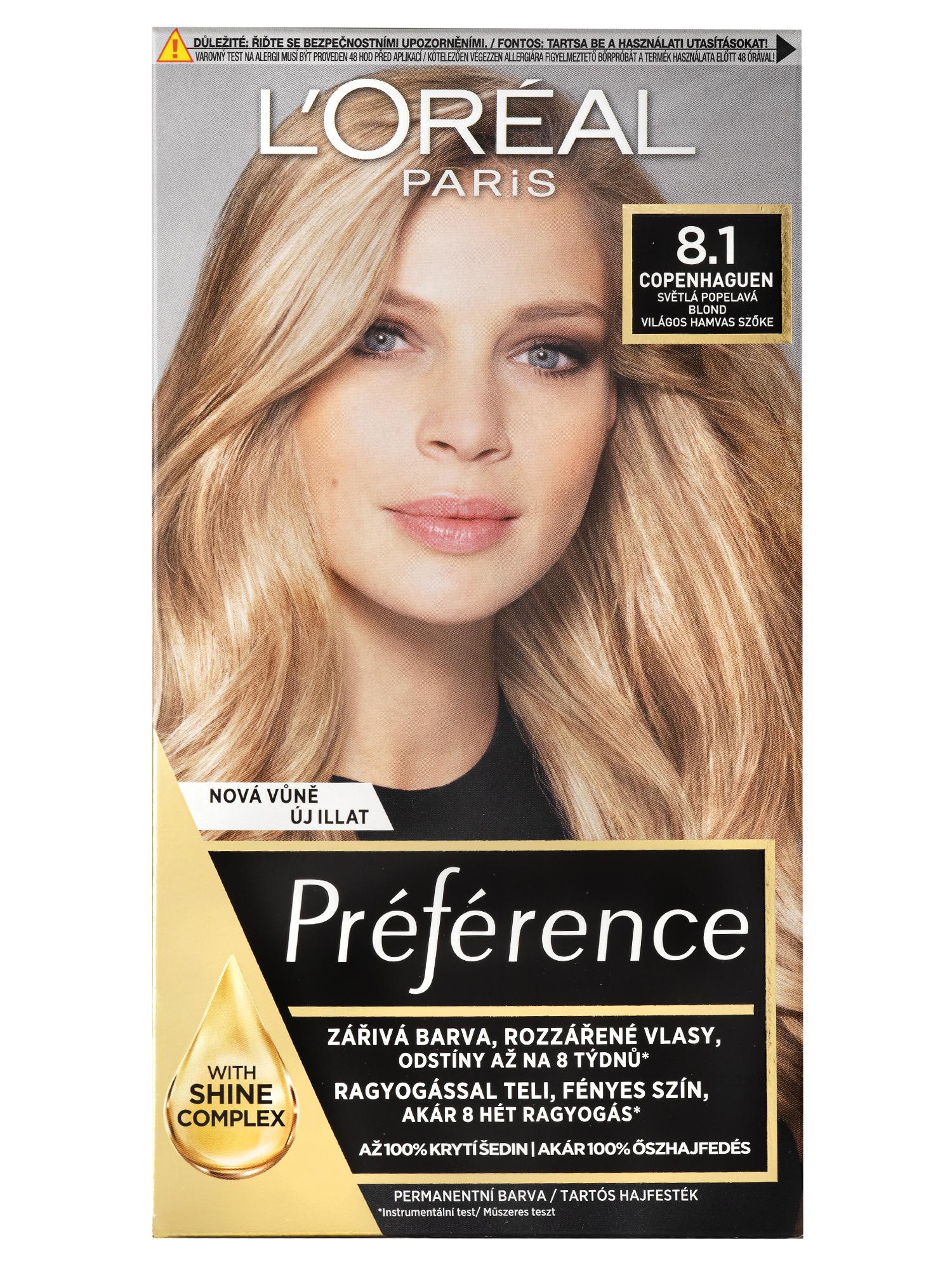 Permanentní barva Loréal Préférence 8.1 světlá popelavá blond + DÁREK ZDARMA