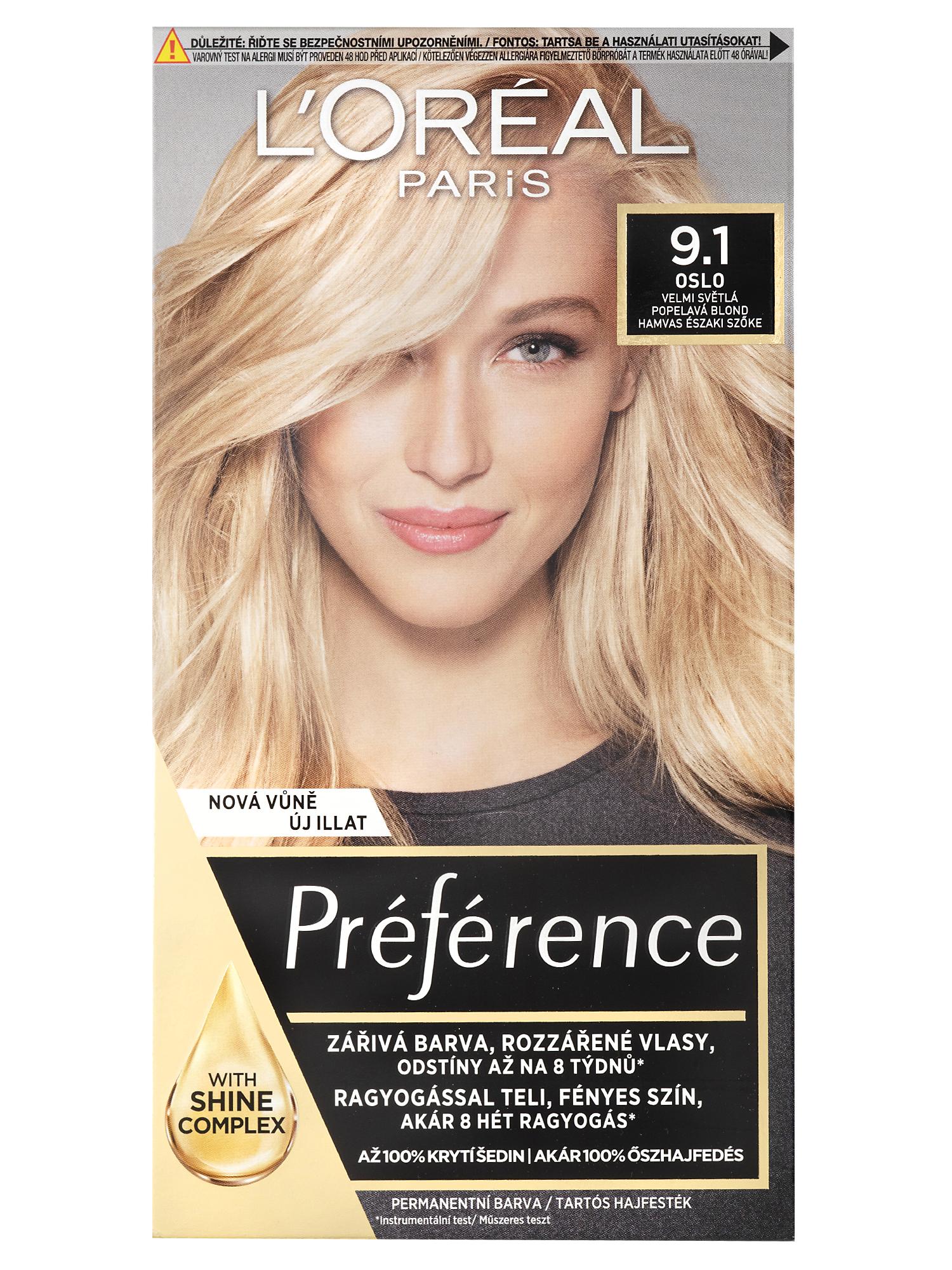 Permanentní barva Loréal Préférence 9.1 velmi světlá popelavá blond + DÁREK ZDARMA