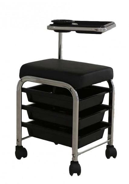 Manikúrní/pedikúrní stolička Weelko Brevis - 3 zásuvky, černá (WK-MOO5 BLACK) + DÁREK ZDARMA