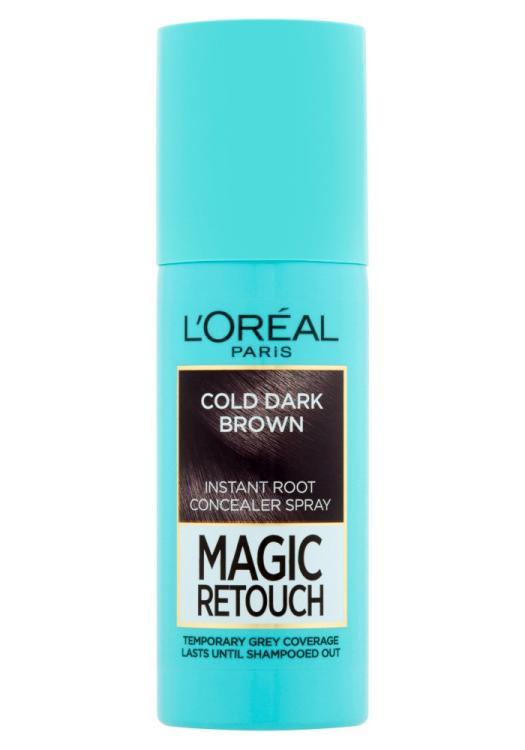 Sprej pro zakrytí odrostů Loréal Paris Magic Retouch - 75 ml, ledově tmavě hnědá
