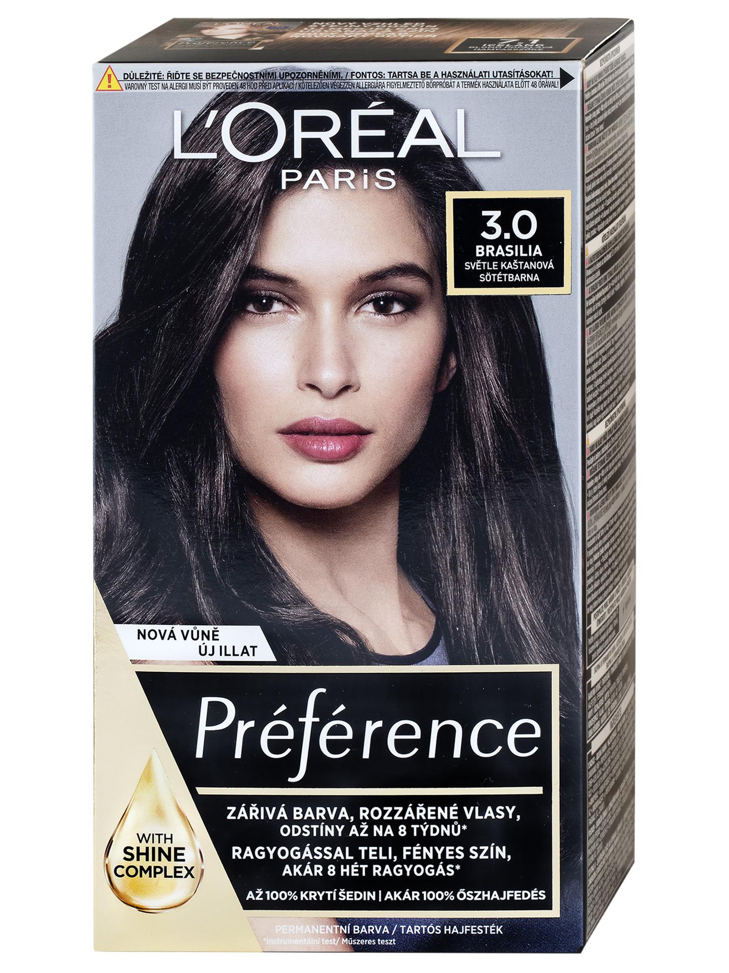 Permanentní barva Loréal Préférence 3.0 světle kaštanová + DÁREK ZDARMA