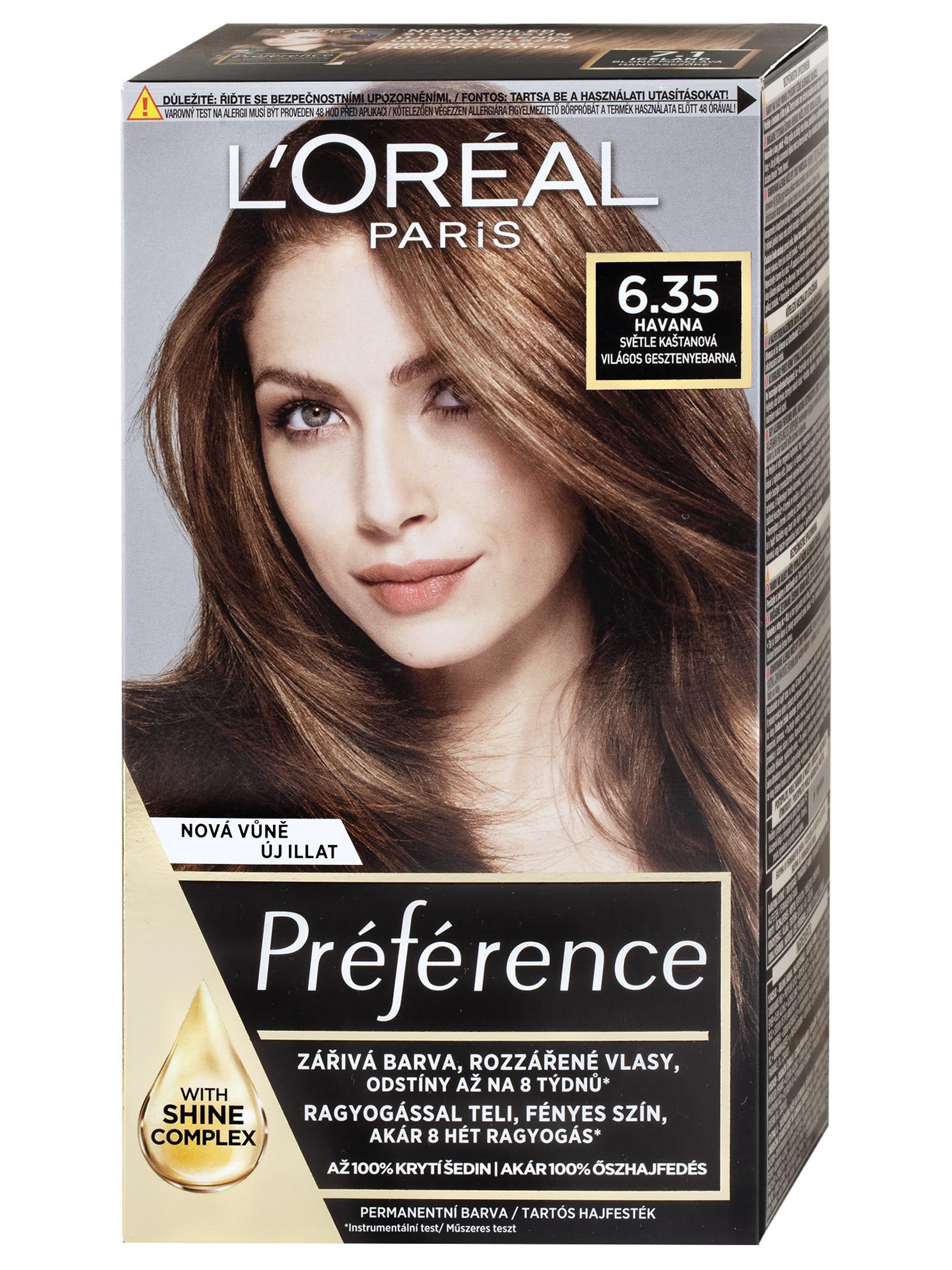 Permanentní barva Loréal Préférence 6.35 světle kaštanová + DÁREK ZDARMA