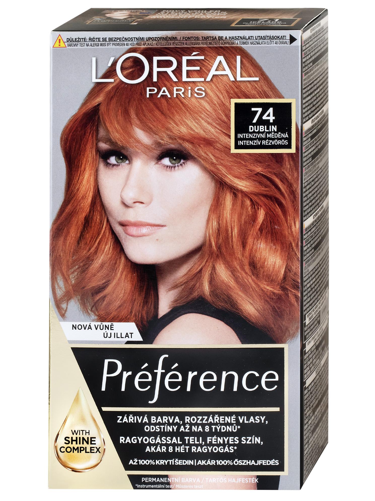 Permanentní barva Loréal Préférence 74 intenzivní měděná + DÁREK ZDARMA