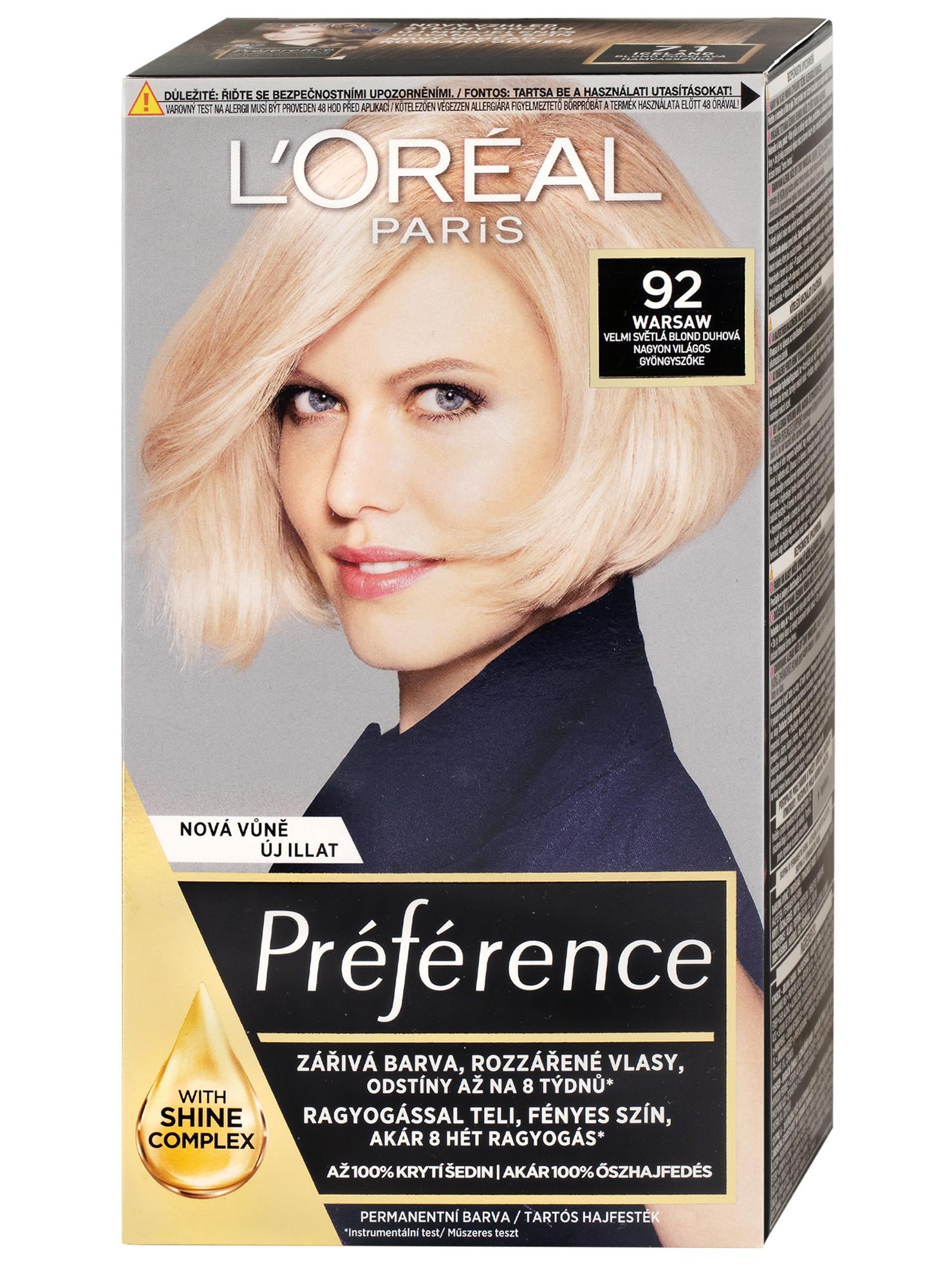 Permanentní barva Loréal Préférence 92 velmi světlá blond duhová + DÁREK ZDARMA