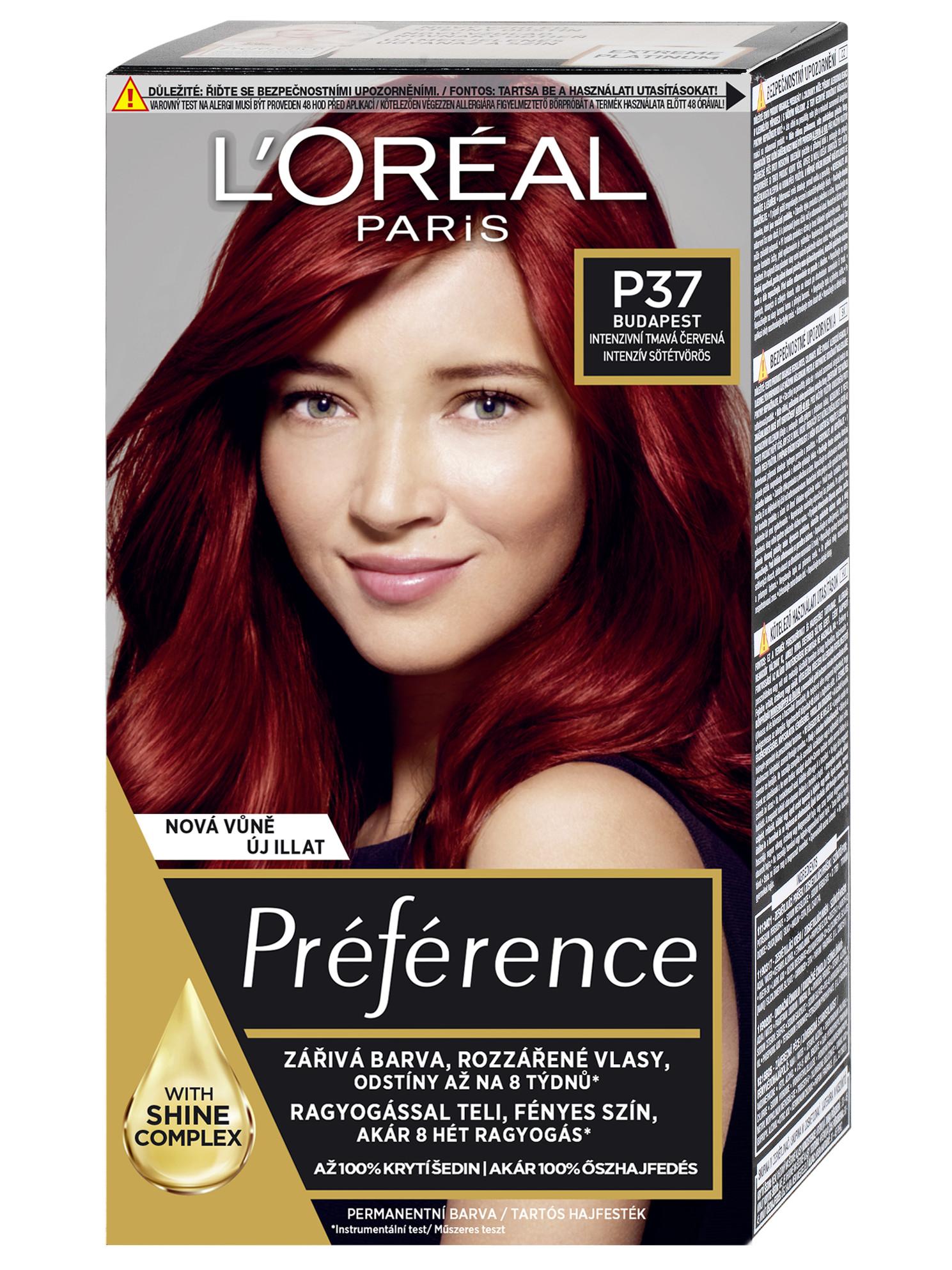 Permanentní barva Loréal Préférence P37 intenzivní tmavá červená + DÁREK ZDARMA