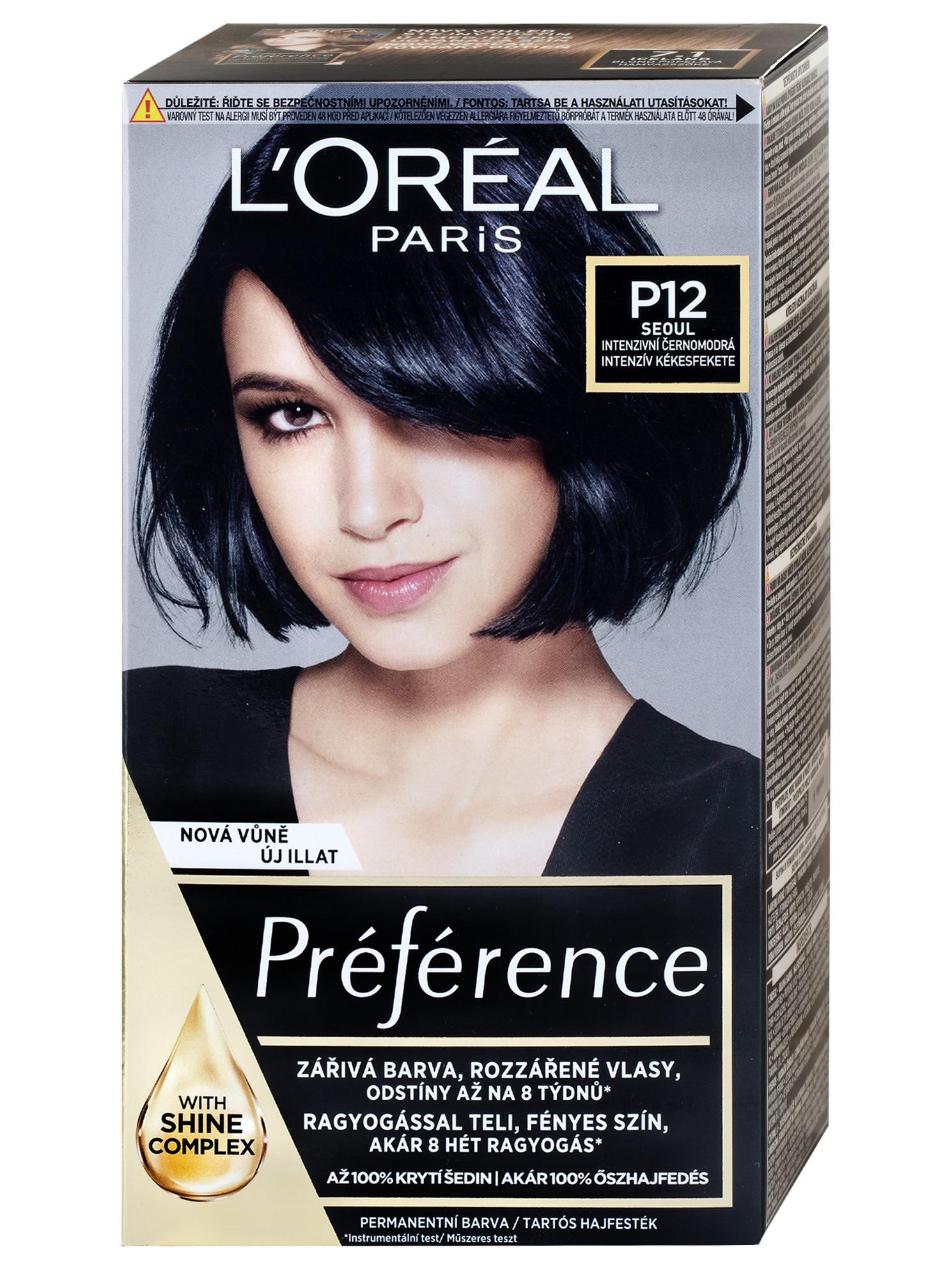 Permanentní barva Loréal Préférence P12 intenzivní černomodrá + DÁREK ZDARMA